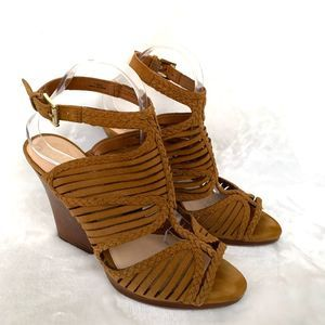 Vince Camuto Brown Sling Back Cage Leather Heels